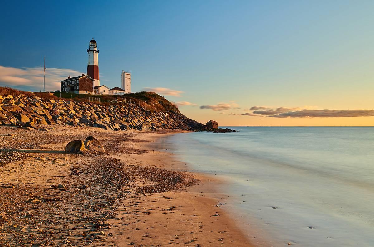 Montauk Lighthouse and beach at sunrise, Long Island, New York,